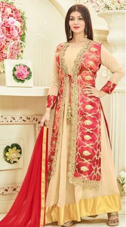 Ayesha Takia Cream Anarkali Suit With Long Jacket