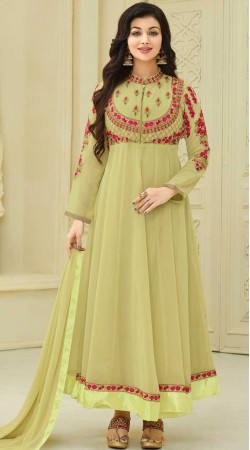 Ayesha Takia Lime Green Anarkali Suit With Embroidery Work