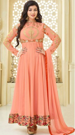 Ayesha Takia Peach Anarkali Suit With Floral Print Border