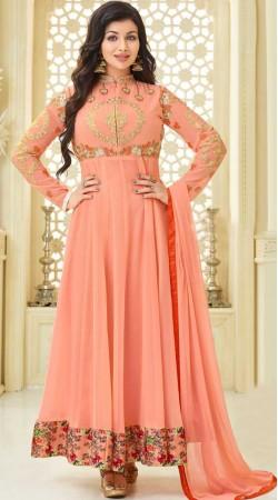 Ayesha Takia Peach Anarkali Suit With Floral Print Border