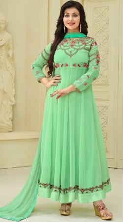 Ayesha Takia Sea Green Anarkali Suit With Embroidery Work