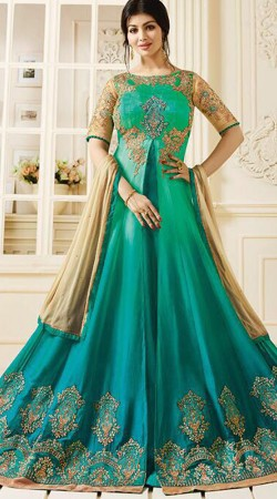 Ayesha Takia Sea Green And Firozi Party Wear Anarkali Suit