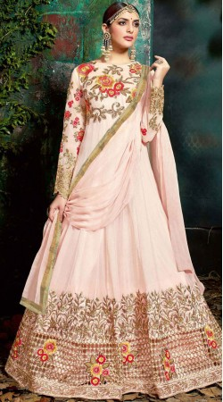 Baby Pink Pure Georgette Floor Length Anarkali Suit