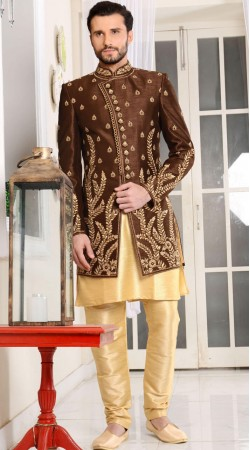 Banarasi Silk Kurta Pajama With Long Jacket