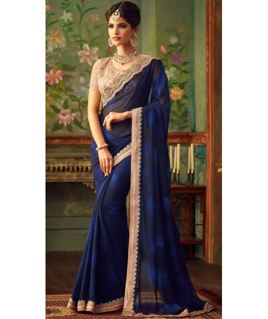 Beautiful Blue Party Saree With Blouse