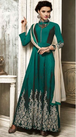 Beautiful Bottle Green Embroidery Work Salwar Kameez BN2629717