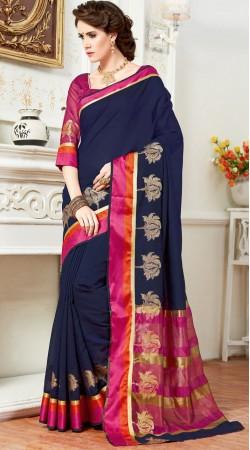 Beautiful Dark Blue Cotton Silk Saree