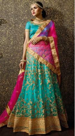Beautiful Firozi Net Wedding Lehenga Choli