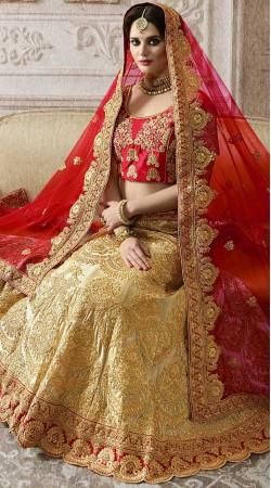 Beautiful Golden Cream And Red Bridal Lehenga Choli