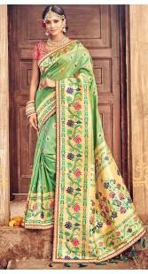 Beautiful Green Banarasi Pure Silk Wedding Wear Saree
