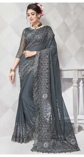 Beautiful Grey Georgette And Net Broad Border Saree
