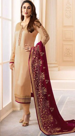 Beautiful Kareena Kapoor Cream Churidar Suit