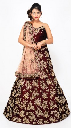 Beautiful Maroon Velvet Bridal Lehenga Choli