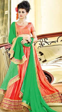 Beautiful Peach Paper Silk Navratri Chaniya Choli