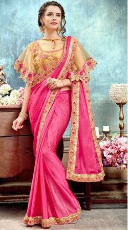 Beautiful Pink Silk Party Wear Cape Saree