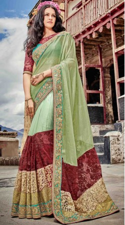 Beautiful Pista Net Party Saree With Blouse
