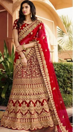 Beautiful Red Bridal Lehenga Choli With Matching Dupatta