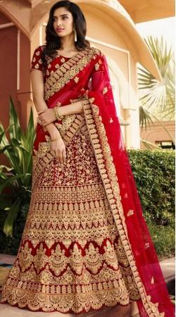 Beautiful Red Bridal Lehenga Choli With Matching Dupatta
