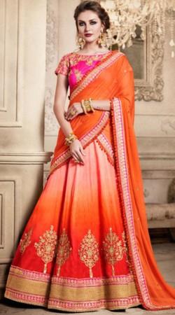 Beautiful Reddish Orange Silk Wedding Lehenga Choli