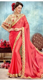 Beautiful Salmon Silk Cape Saree