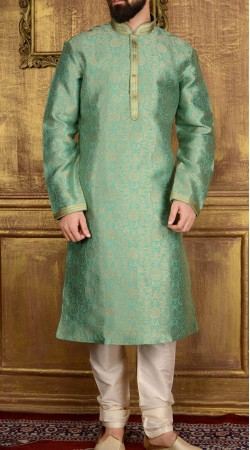 Beautiful Sea Green Jacquard Kurta Pajama