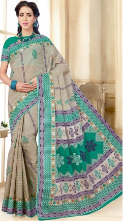 Beige And Rama Green Pure Cotton Printed Saree