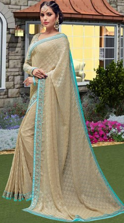 Beige Brasso Saree With Long Sleeves Blouse