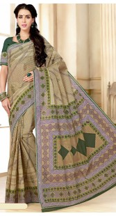 Beige Pure Cotton Saree With Print