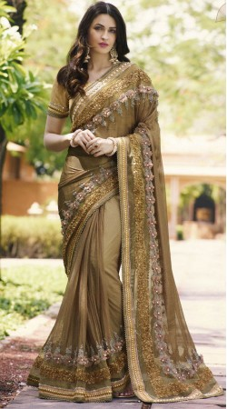 Beige Sendly Net And Shimmer Net Party Saree 2WV1506123