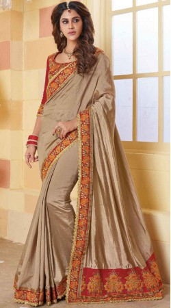 Beige Silk Border Saree With Contrast Blouse