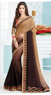 Beige Soft Silk Border Saree With Embroidery Work Blouse