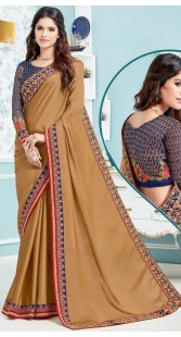 Beige Soft Silk Saree With Contrast Blue Blouse