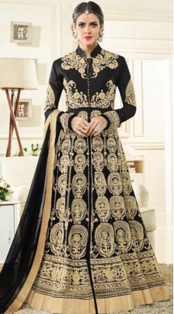 Black Anarkali Suit With Embroidery Work