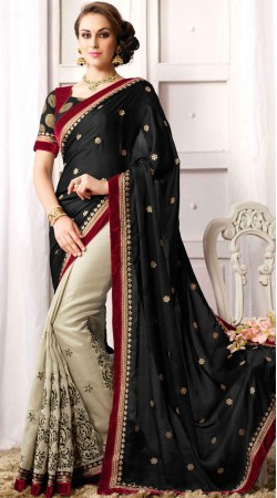 Black And Off White Party Saree With Matching Blouse
