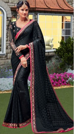 Black Brasso Saree With Embroidery Work Blouse