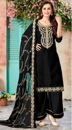 Black Chanderi Palazzo Suit With Embroidery And Gotta Patti Work