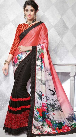 Black Embroidery Work Saree With Printed Palla