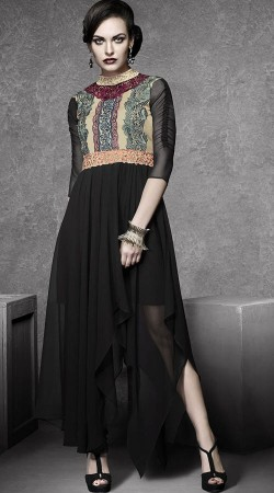 Black Georgette Embroidery Work Tunic