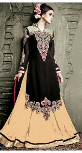 Black Georgette Long Choli Lehenga