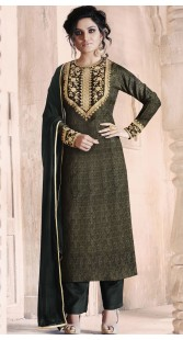 Black Jacquard Embroidery Work Palazzo Suit RY1035A14