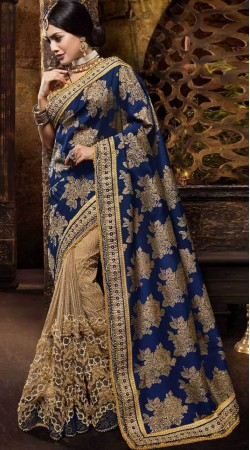 Blue And Beige Silk Jacquard Saree For Party