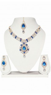 Blue And White Stone Work Necklace Set With Maang Tika