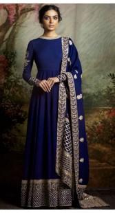 Blue Art Silk Party Wear Floor Length Anarkali