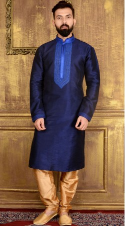 Blue Banarasi Silk Kurta Pajama