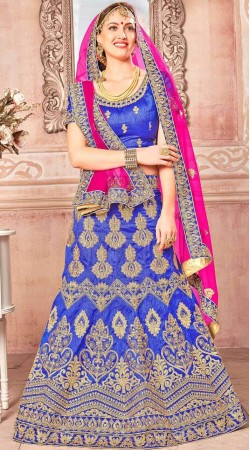 Blue Banglori Silk Embroidery Work Lehenga Choli