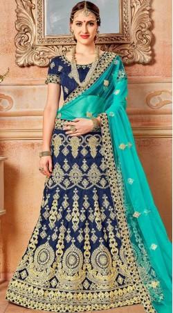 Blue Banglori Silk Lehenga Choli For Wedding
