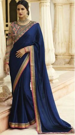 Blue Chiffon Jacquard Designer Blouse Saree