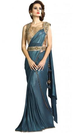 Blue Fancy Knit Designer Saree With Belt