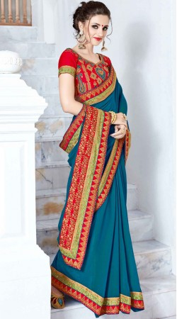 Blue Georgette Saree With Embroidery Work Blouse