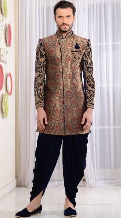 Blue Jacquard Wedding Wear Dhoti Sherwani